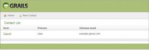 Affichage de la liste des contacts