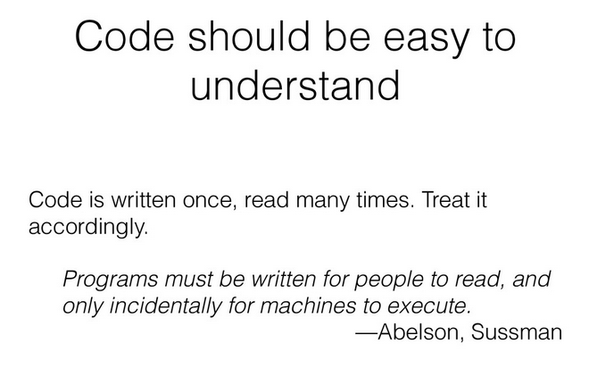 "Quote ""Code should be easy to understand"""