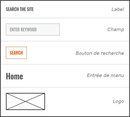 Atomes : label, champ, bouton de recherche, entrée de menu, logo