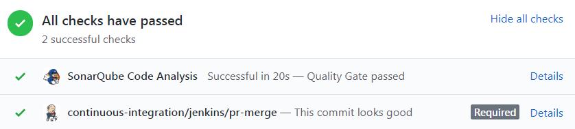 Pull request GitHub approuvée par SonarQube