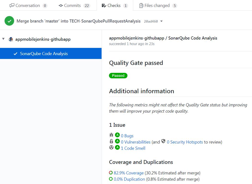 Détails de l'analyse SonarQube dans l'onglet checks de GitHub